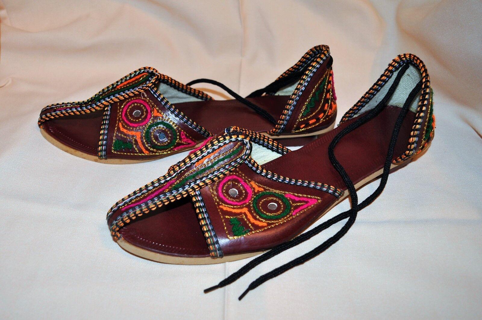Women Sandal Shoe Sz Open 7/8 M - Bohemian Open Sz Toe Shoe - Festive low heel - New! df809a