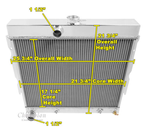 "22/"" Wide Core 1965 1966 1967 1968 1969 Plymouth 3 Row Alliant Radiator"