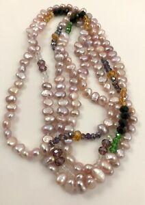 Pink Lavender Baroque Freshwater Pearl & Crystal Necklace & Brass Shortener 47''
