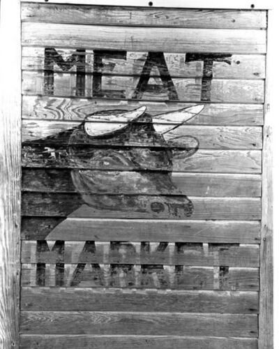 KENNER LA MEAT MARKET SIGN 8X10 PHOTO DEPRESSION ERA
