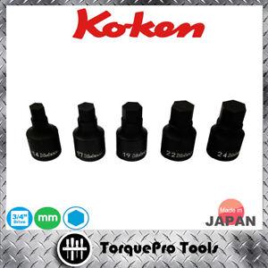 KOKEN 6012M-14/17/19<wbr/>/22/24  Inhex Socket Set