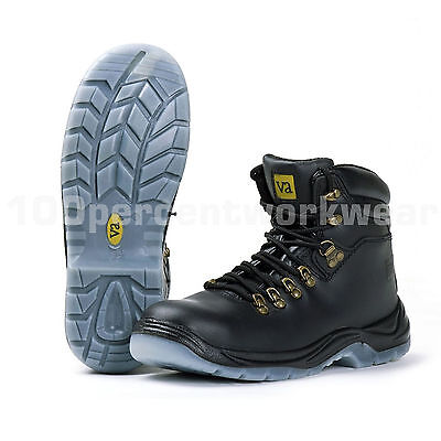 1a0570063a5 VA Cougar Mens Black Leather Work Safety Boots Steel Toe Cap Mid Sole S3  SRC New | eBay