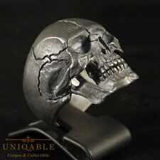 BIKER Ring Size 14 Handmade Skull 3 Sterling Silver Harley Jewelry Masonic Gift
