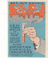 Vintage Poster Stamp Label NYC EXPO CHEMICAL INDUSTRIES 1925 Test Tube  #IM