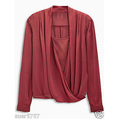 New NEXT Ladies Grey or Red Wrap Front Long Sleeve Casual Chiffon Top Size 8- 22