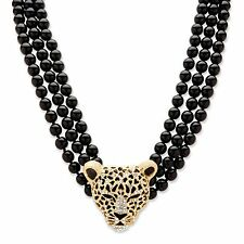 PalmBeach Jewelry Onyx and Crystal Leopard Beaded Necklace in Yellow Gold Tone