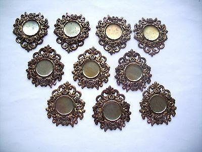 14 pcs. Raw Brass Stamping Finding- LARGE MULTI-LAYER FILIGREE SHAPE- 18mm