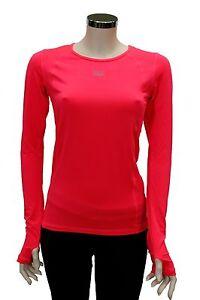 T-Shirt-da-donna-rosa-tinta-unita-Everlast-manica-lunga-in-microfibra