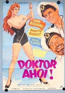 Kino-Film-Plakat-Doktor-Ahoi-Brigitte-Bardot-Poster-DIN-A-1-Dirk-Bogarde-50er