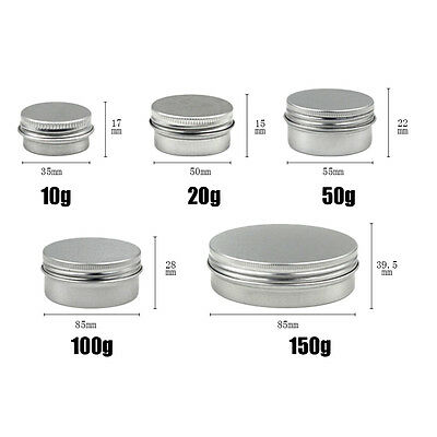 10/20/50/100/150ML Top Nail Art Lip Balm Tin Container With Screw Thread Easy