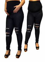 Ripped Maternity Jeans Trendy High Waisted Elasctic Blue Modern Hipster Fashion