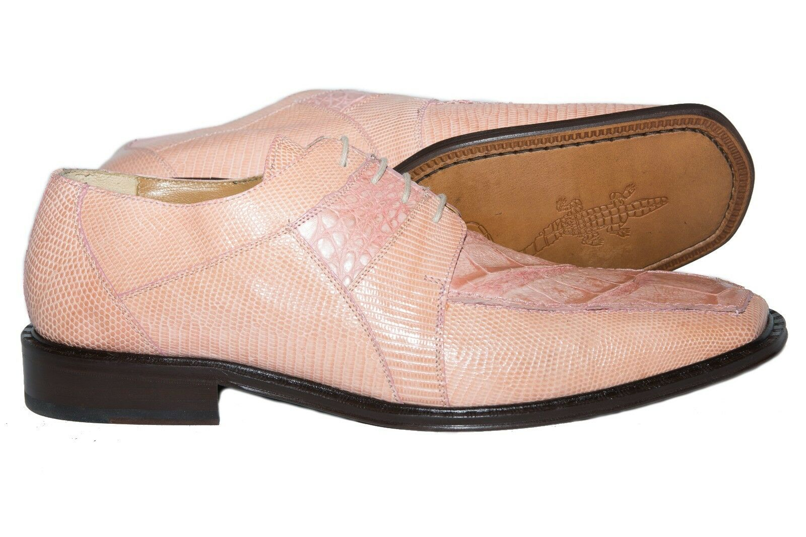 David Eden L-82 Made in Spain pink crocodile and lizard lace up shoes Scarpe classiche da uomo