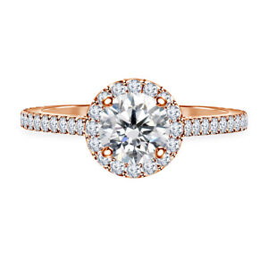 0.98 Ct Round Cut Real Moissanite Anniversary Ring 14K Solid Rose Gold Size 4