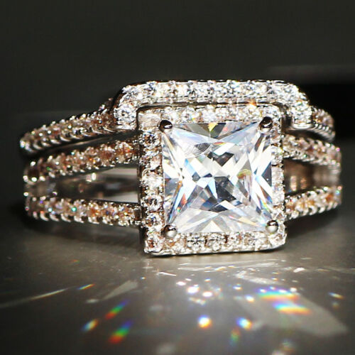 Hot Fashion White Sapphire Birthstone 925 Silver Filled Wedding Bridal Ring Set