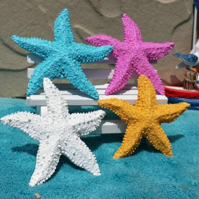 2Pcs Cute Fish Tank Ornament Mediterranean Resin Mini Starfish Aquarium Decor Pr