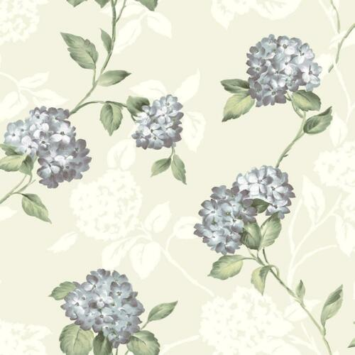 Wallpaper Designer Purple Blue Hydrangea Green Leaf Trail on Cream