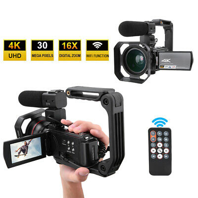 Digital Video Camera Camcorder with Microphone HDR-AE8 4K HD 16X WiFi Camera 3.0inch Touch Screen Night Vision 8 Million CMOS Image Sensor Electronic Anti-Shake with Battery