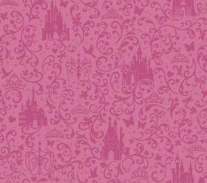 Details about Disney Princess Castle Hot Pink on Satin Hot Pink Sure Strip Wallpaper DS7612
