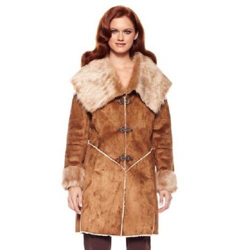 American Jeweled Raro Badgley Mischka Finta pelliccia Glamour sintetica Grande Coat 325 ATaq7Fa