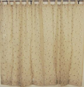 Tab-Top-Sheer-Panels-2-Embroidered-Ecru-Decorative-Window-Curtains-India-Style