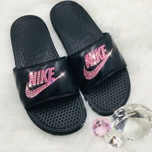 989da8f3c11e Bling Nike Benassi JDI Women s Slides w  Swarovski Crystals Black ...