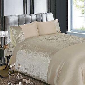 Matrimonio Bed Cover : Terciopelo aplastado natural crema set funda edredón matrimonio ebay
