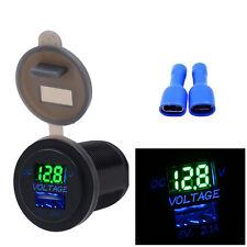 5V 2.1A  USB Charger Socket Adapter Voltmeter Outlet For 12V 24V Motorcycle Car