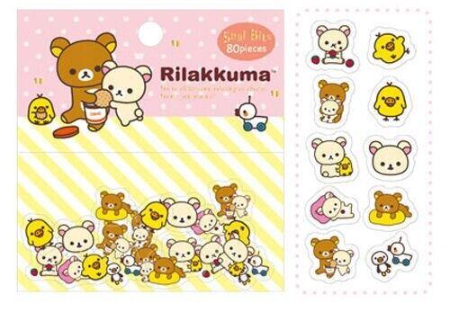 NEW San-x Rilakkuma Bear 80pcs 10 Design Sticker Sack Pack Kawaii Japan US SHIP