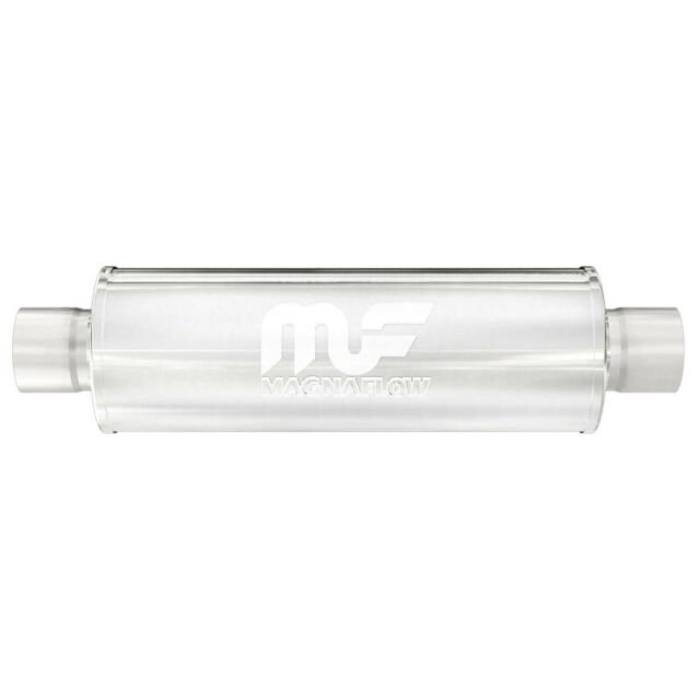 """MAGNAFLOW 10414 Stainless Steel Muffler Straight 4/"""" Round Center 2/"""" ID IN OUT"""