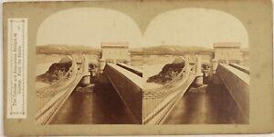 Pays Da Wales UK Conwy Railway Bridge Wales Foto Stereo Vintage Albumina c1860
