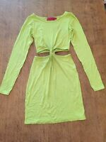 Women's Boohoo Lime Green Long Sleeve Dress With Tie Knot Front And Back Size 10