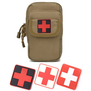 Outdoor-Survival-First-Aid-PVC-Red-Cross-Hook-Loop-Fastener-Badge-Patch-6-6FLA