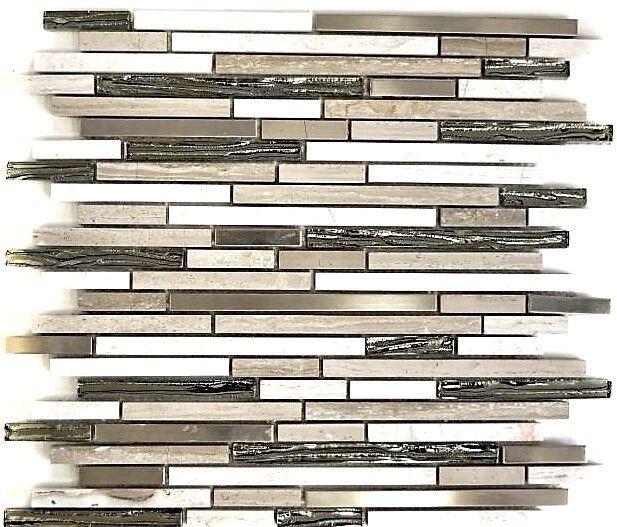 Glasmosaik Naturstein Stahl braun/grau mix Wand Bad  Küche Art:WB86-SV85|1 Matte