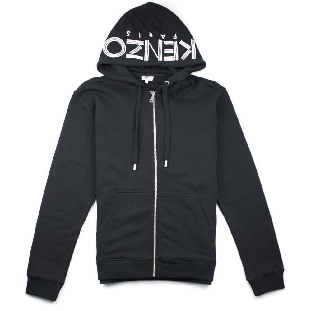 Kenzo Zip Up Hood Logo Hoody schwarz