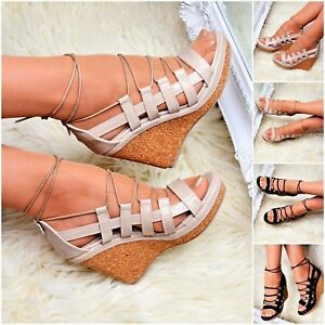 6ea56f5acac Womens Platform Wedges High Heel Strappy Sandals Cut Out Casual Cork ...