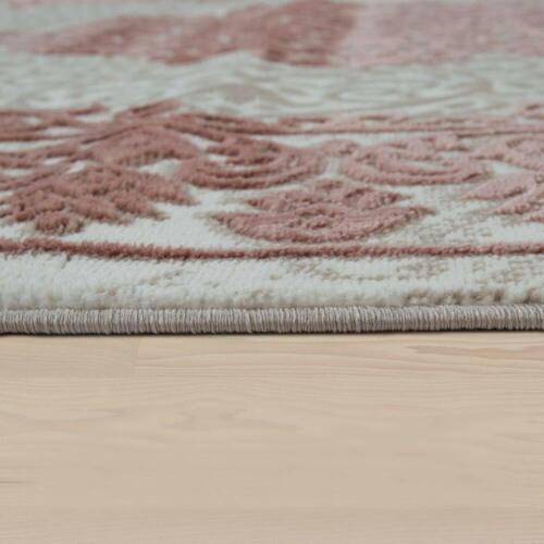 Traditional Oriental Rug Cream Beige Pink 3D Pattern Carpet Mat for Living Room