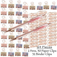 Rose Gold Stationery Love Paper Clips Binder Clamps Black Ink Ballpoint Pens
