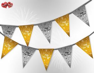 Happy-New-Year-Stars-amp-Glasses-Mix-Black-Bunting-Banner-15-flags-by-PARTY-DECOR