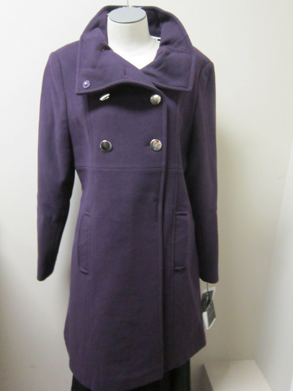 Chequer Double Breasted Military Military Military Inspired Wool Coat 12 NWT  396 09eccd