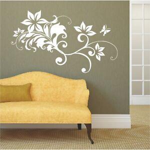 Blumen-Wandtattoo-Blueten-Wandsticker-Wandbild-Schmetterling-Blume-Bluete9
