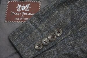 Hickey Freeman Beacon Gray Blue Plaid 100% Worsted Wool Sport Coat Jacket Sz 44R
