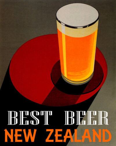 POSTER BEST BEER NEW ZEALAND BREWERIES PALE LAGER DRINK VINTAGE REPRO FREE S//H