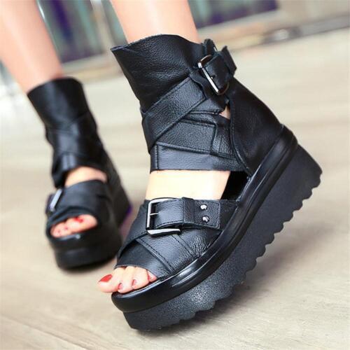 Womens Black Leather Gladiator Sandals Platform Wedges Punk Goth Creeper Shoes