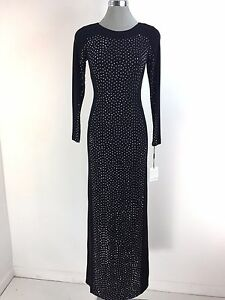 07aaa506dc40 Image is loading Calvin-Klein-NWT-Elegant-Black-Formal-Silver-Beaded-