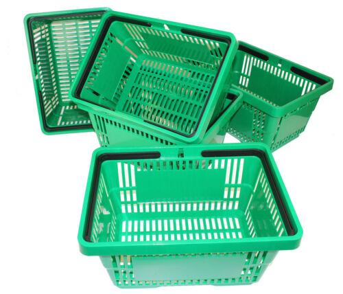 Plastic Shopping Baskets Green Pack of 5 Shopper Baskets