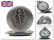 THE ELDER SCROLLS V SKYRIM Dragon Logo Pocket Watch on Chain QUARTZ *UK Seller*