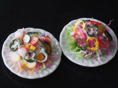 Dollhouse Miniatures 2 Plates of Vegetable Salad Food Supply Deco 35mm Set B