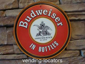 Budweiser in Bottles Anheuser Busch Bud Ice Cold Beers Sold Retro Metal Tin Sign