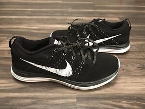 super popular c160f db1ad Image is loading Nike-Flyknit-Lunar-1-One-Black-White-554887-