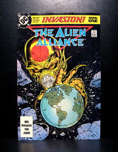 COMICS-DC-Invasion-1-1988-1st-Alien-Alliance-Blasters-app-RARE